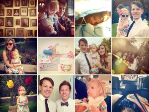 Top:1) The photo wall at my in-laws. 2) Laelia and Ty at the rehearsal dinner.3) A photo of a young Tyler that makes my heart go a-flutter. 4) Laelia being diva-ish (not something I am encouraging!). Middle: 1) Mommy and me. 2) The invitations I designed for this wedding. 3) Family photo! 4) And the ceremony. Bottom: 1) Laelia's infamous pout at the Altar 2) Tyler and the groom 3) Laelia munches spaghetti 4) Our poor man's version of TV in the car on the ride home.