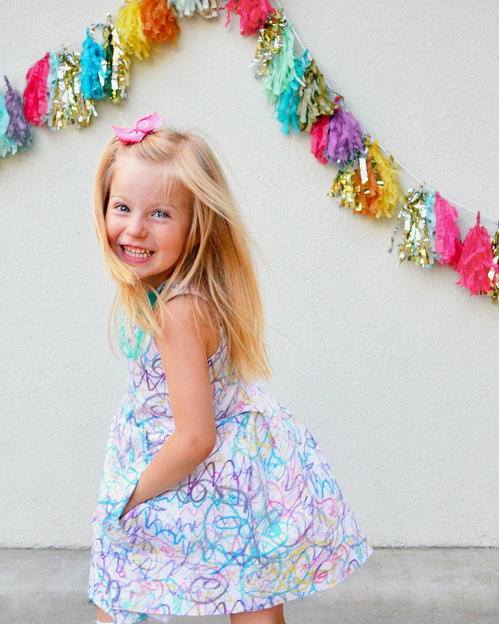 Laelia's Scribble Print Dress; How I Turned Her Artwork into a Dress