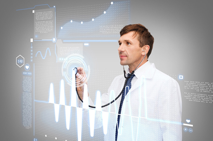 healthcare, new technology and medicine concept - middle-age male doctor with stethoscopeand cardiogram