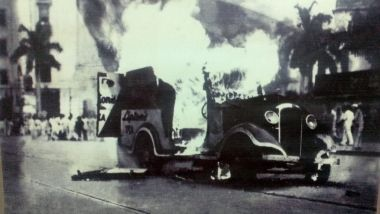Vehicle being burned during partition riot, 1947