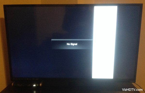 A block of white lines on a Vizio TV.