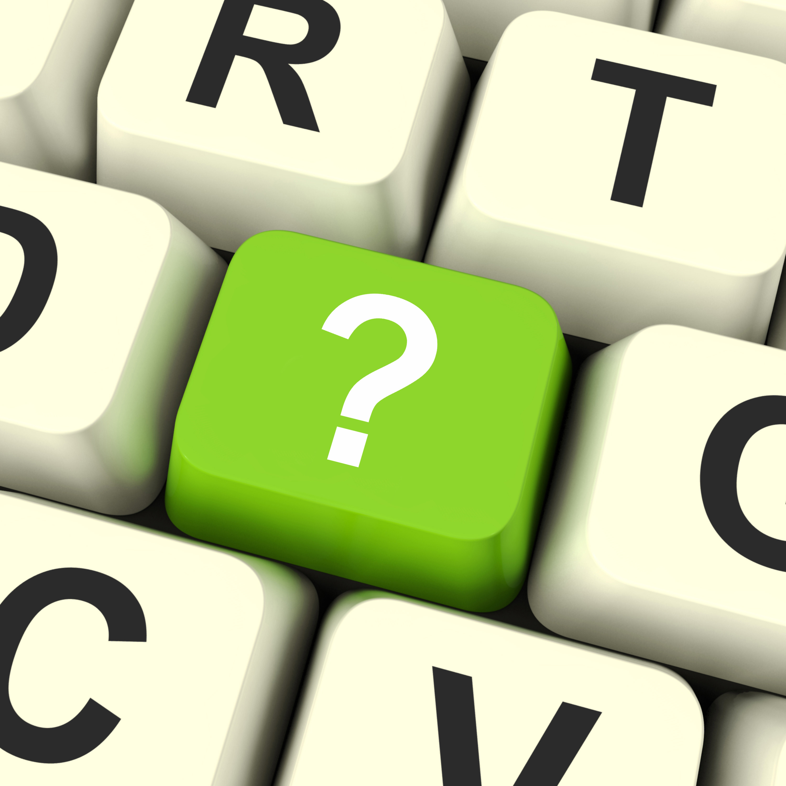 Question Mark Key On Keyboard Showing Help Confused And Doubt