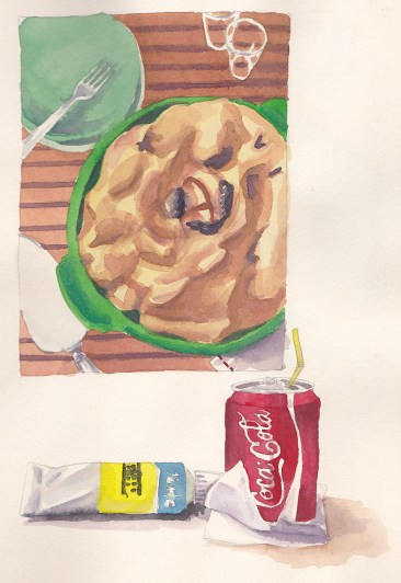 Apple pie, Lemon Yellow tube paint and a can of Coke watercolor paintings