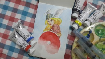 vjjoson brunhilde viking shield maiden painting watercolor