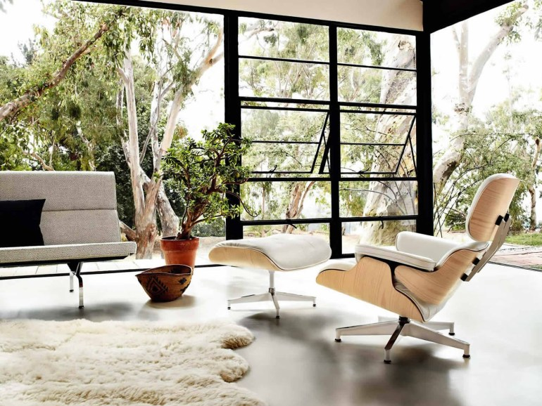 Eames lounge chair and ottoman, designed in 1956,  in white