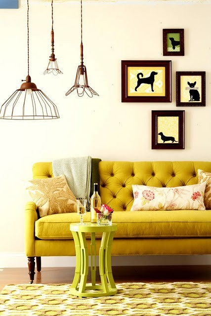 Mustard tufted sofa via pandashouse