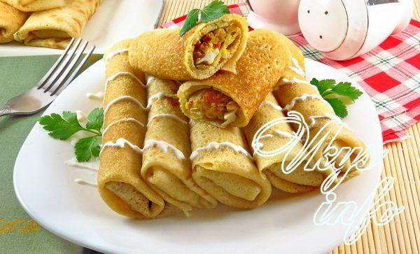 Рецепт блинчиков с капустой пошагово с