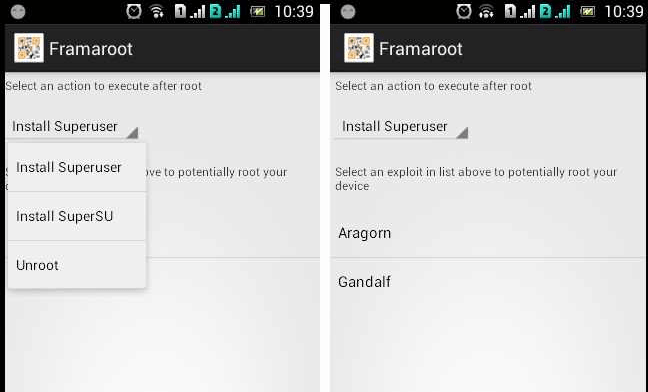 Root android mobile from framaroot
