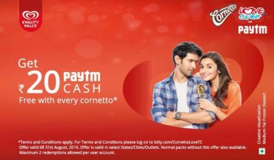 Paytm Cornetto Offer - Buy and Get Rs. 20 Free Paytm Cash