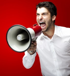 Belting - a man with a megaphone