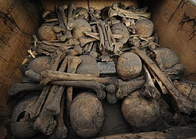tělesné ostatky, umučení františkáni, kostra, lebka