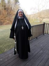 Sr. Kathleen, wearing the proposed habit of the FJAs. Habit is a similar to what Bl. Jacopa is wearing in the picture.