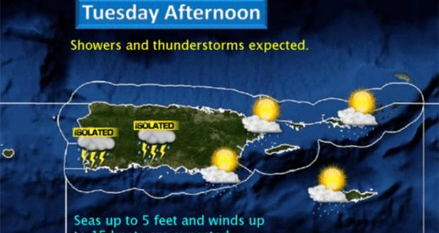 Mapa con el pronóstico del tiempo para hoy.