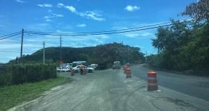 Reparación de la carretera PR-149, en su intersección con la PR-592, a mediados de abril. (Voces del Sur)