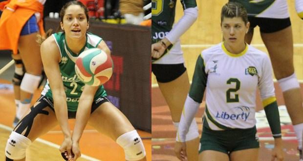 Raymariely Santos y Debora Seilhamer. (Federación Puertorriqueña de Voleibol)
