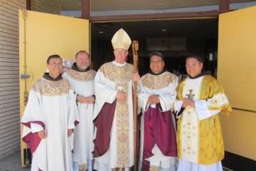 Left to right - Fr. Charlie Martinez OFM, Fr. Jack Clark Robinson, OFM, Archbishop Wester, Fr. Andres Gallegos, OFM, Deacon Jorge Hernandez, OFM