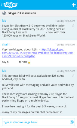 Skype for BlackBerry 10 - Group Chat session