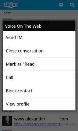 Recent Screen: Press on an Item for Contact Action Options menu