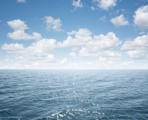 View of an open sea with copy space