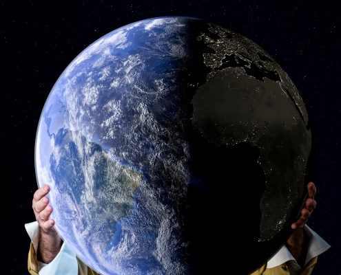 Allegorical image of a senior man holding the planet earth in his hands, with deep space stars at background. He wears a clear suit with hat, white shirt and  black and white neckerchief.