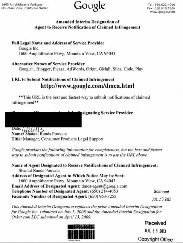Google designated DMCA agent info