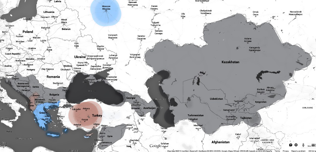 Russia and Turkey shared zones of influence