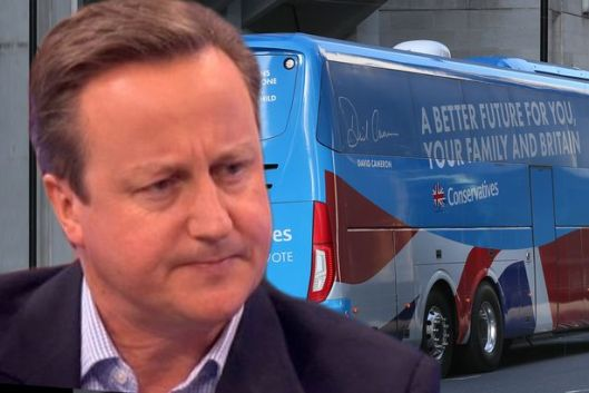 """David Cameron backed the battle bus campaign and said """"I'm responsible for everything"""" [Image: Getty]."""