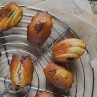 Madeleines à la noix de coco, coeur fondant au chocolat