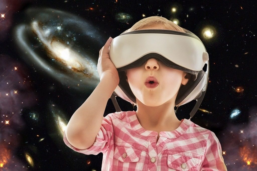 Child explores space in VR
