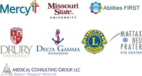 Logos of VRCO affiliates including Lions Club, Mattax Neu Prater Eye Center, Delta Gamma Foundation, Drury University, Missouri State University, Mercy Hospital and Abilities First