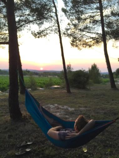 Zonsondergang vanuit de hangmat