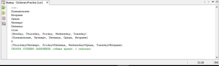 Словарь в Java. Демонстрация программы