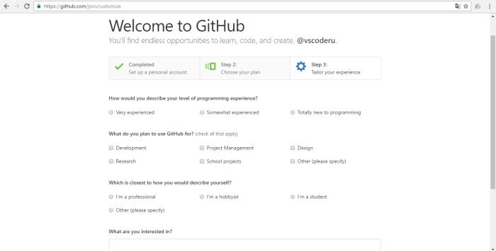 Указание опыта программирования на GitHub