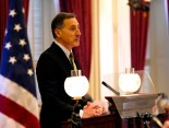 Gov. Peter Shumlin gives his inaugural address. Photo by Roger Crowley