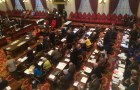 House lawmakers vote on a gun possession bill Thursday at the Statehouse. Photo by Erin Mansfield/VTDigger