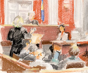 Court drawing from the first round of hearings in June 2011, U.S. District Court, Brattleboro. Deb Lazar/The Commons