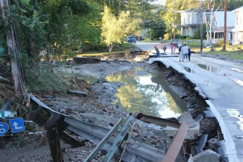 The town of Bethel, post-Irene. Photo courtesy U.S. Fish and Wildlife Service.