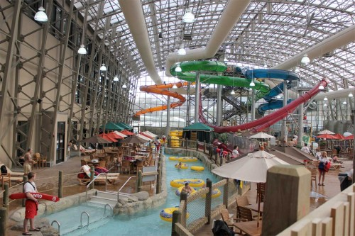 Many of the features and rides in the new Jay Peak water park are heated by capturing waste heat from an ice arena.