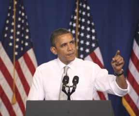 Barack Obama speaks to a crowd of supporters on the University of Vermont campus on March 30, 2012. Photo by Ceilidh Galloway-Kane