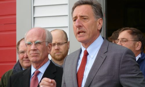 Gov. Peter Shumlin with Rep. Peter Welch in Northfield, March 14, 2012.