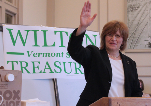 Rutland City Treasurer Wendy Wilton addressed supporters at the launch of her campaign for state treasurer. VTD Photo/Taylor Dobbs