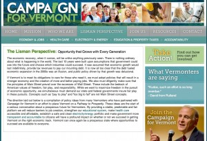 A screenshot of the Campaign for Vermont webpage where Lisman lays out the 'Lisman Perspective.'