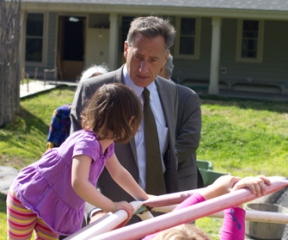 Gov. Peter Shumlin interacts with children at Montpelier's Family Center, a center for early child-care education. VTD Photo/Nat Rudarakanchana