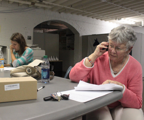 Liz Gretkowski of Burlington, a former judge and longtime friend of the Donovan family, made calls for Donovan's campaign Monday evening. Next to her, Erin Kranichfeld was working what she said was probably her 15th shift on Donovan's phone bank. VTD Photo/Taylor Dobbs