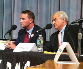 Attorney General Bill Sorrell and challenger TJ Donovan debated in Burlington's City Hall Wednesday. VTD Photo/Taylor Dobbs