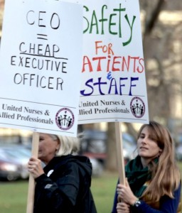 Workers protest job cuts at the Brattleboro Retreat. Photo by Randy Holhut/The Commons