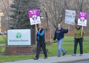 Brattleboro Retreat workers protest job cuts. Photo by Randy Holhut/The Commons