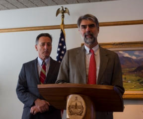 Gov. Shumlin stands behind his administration secretary Jeb Spaulding on Friday as they outline measures aimed to boost the transparency of state government. Photo by Nat Rudarakanchana