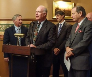 Sens. Bobby Starr, left, Joe Benning, center, John Rodgers and Bob Hartwell hold a press conference to promote a moratorium on wind project siting. Photo courtesy of Annette Smith