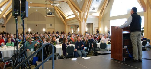 Climate change is the greatest threat to Vermont agriculture, Gov. Peter Shumlin told participants at the annual Vermont National Organic Farmers Association conference at the University of Vermont on Saturday, Feb. 16, 2013. Photo by Audrey Clark.